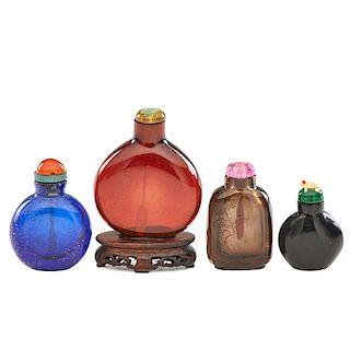 CHINESE GLASS AND HARDSTONE SNUFF BOTTLES