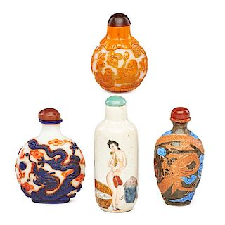 CHINESE GLASS AND PORCELAIN SNUFF BOTTLES