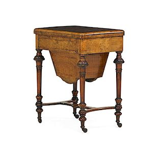 VICTORIAN WALNUT GAMES/SEWING TABLE
