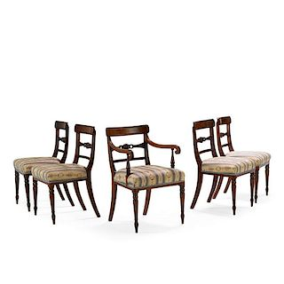 SET OF LATE REGENCY MAHOGANY DINING CHAIRS