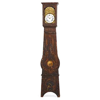 SWEDISH FAUX PAINTED TALL CASE CLOCK