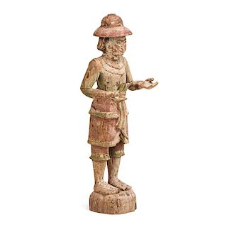 CAMBODIAN CARVED WOOD MALE FIGURE