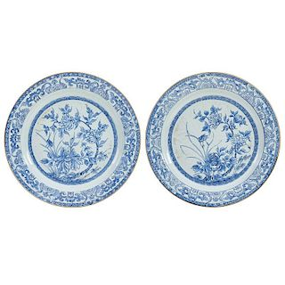 PAIR OF CHINESE BLUE AND WHITE CHARGERS