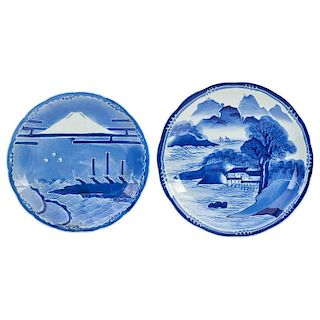 JAPANESE BLUE AND WHITE PLATTERS