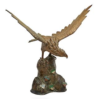 CHINESE BRONZE AND CHAMPLEVÉ HAWK