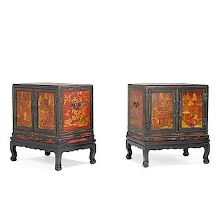 PAIR OF JAPANESE LACQUER CABINETS ON STANDS
