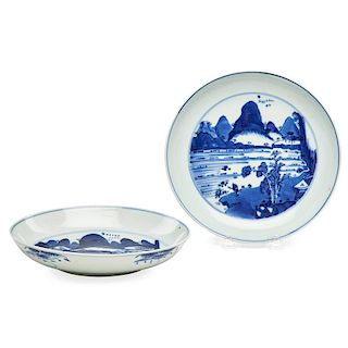 CHINESE BLUE AND WHITE PLATES