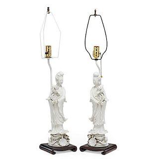 PAIR OF BLANC DE CHINE FIGURAL LAMPS