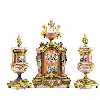 LOUIS XVI STYLE PORCELAIN CLOCK GARNITURE