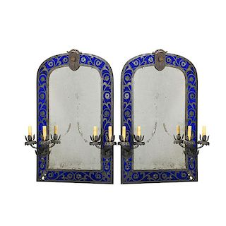 PAIR OF RENAISSANCE STYLE PATINATED METAL MIRRORS