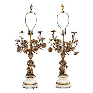 PAIR OF LOUIS XV STYLE BRONZE AND MARBLE LAMPS