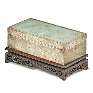 CHINESE JADE MOUNTED METAL BOX