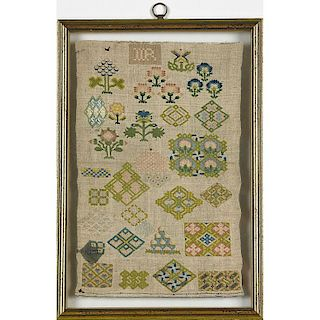 FIVE ENGLISH SAMPLERS AND ONE EMBROIDERY