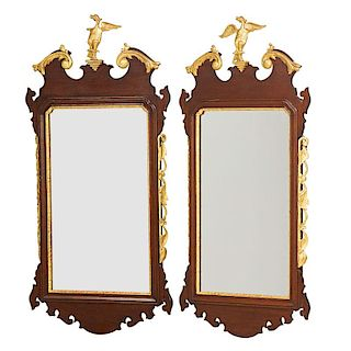 PAIR OF CHIPPENDALE PARCEL GILT MIRRORS