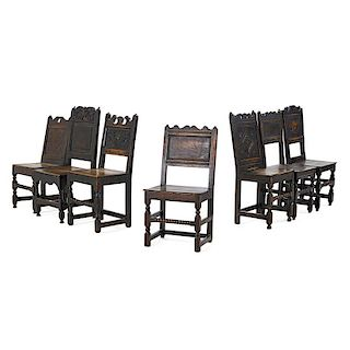 ASSEMBLED SET OF ENGLISH OAK AND ELM SIDE CHAIRS