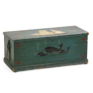 POLYCHROME PAINTED PINE SEA CHEST