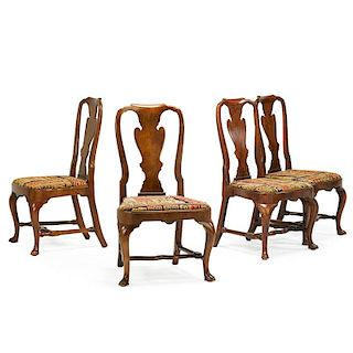 SET OF FOUR GEORGE I STYLE WALNUT SIDE CHAIRS
