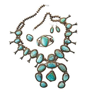 SQUASH BLOSSOM SILVER AND TURQUOISE JEWELRY