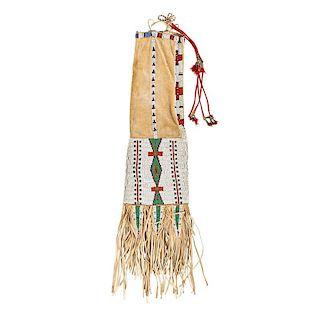 PLAINS INDIAN BEADED HIDE PIPE BAG