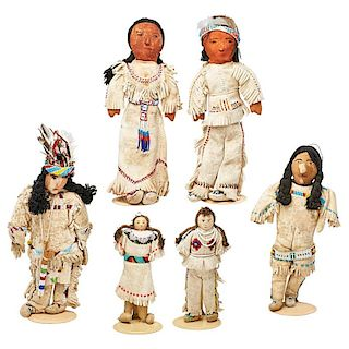 AMERICAN INDIAN HIDE, CLOTH AND BEADED DOLLS