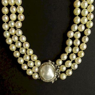 Circa 1964 Bulgari Three GIA Certified Strand White Salt Water Pearl Necklace.