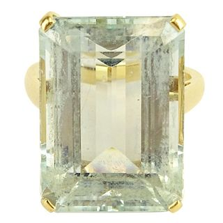 Circa 1960's Bulgari Emerald Cut Aquamarine and 18 Karat Yellow Gold Ring.