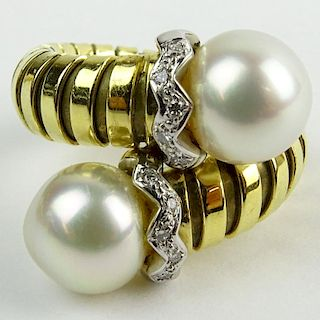 Vintage Bulgari style 18 Karat Yellow Gold, Pearl and Diamond Cross Over Ring.