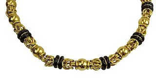 Vintage Thick 18 Karat Yellow Gold and Black Onyx Necklace.