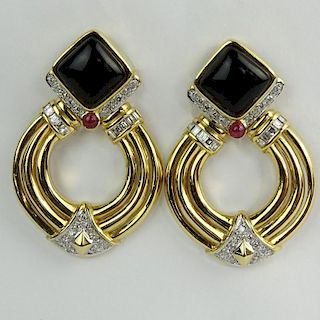 Vintage 14 Karat Yellow Gold, Diamond, Onyx and Ruby Earclips.