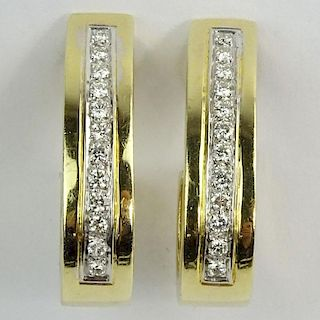 Vintage 14 Karat Yellow Gold and Diamond Hoop Earclips.