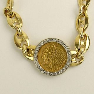 Vintage 14 Karat Yellow Gold Bracelet with Diamond Bezel Set 1915 $2.5 Indian Head Gold Coin.