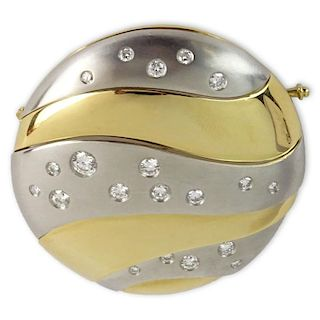 Vintage Shreve & Co approx. 1.60 Carat Round Brilliant Cut Diamond 18 Karat Yellow Gold and Platinum Brooch.