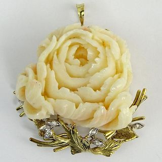 Vintage Italian Carved Angelskin Coral, Diamond and 14 Karat Yellow Gold Pendant/Brooch.