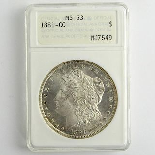 1881-CC Morgan Silver Dollar ANACS MS 63 NJ7549.