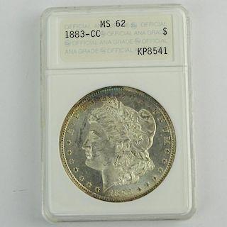 1883-CC Morgan Silver Dollar ANACS MS 62 KP8541.