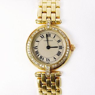 Lady's Cartier 18 Karat Yellow Gold Panthere Quartz Movement Watch.