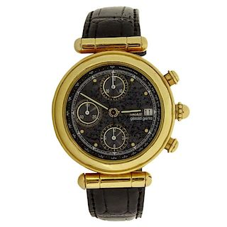 Men's Vintage Gerald Genta 18 Karat Yellow Gold Chronograph Automatic Movement Watch.