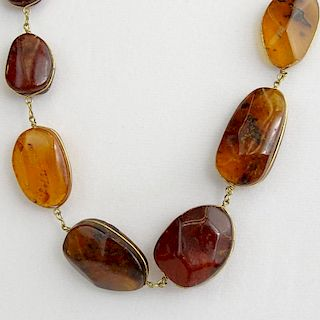Vintage Amber Bead Necklace.