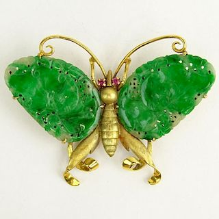 Vintage Carved Jadeite and 14 Karat Yellow Gold Butterfly Brooch.