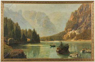 Anton Hlavacek (Austrian, 1842-1926) Mountain Lake