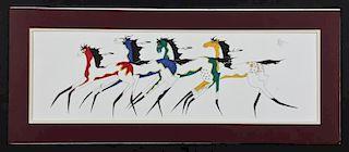Dwayne Wilcox (Native American: Oglala Lakota, 20th c.) Original Watercolor