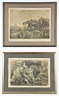 2 Elephant Theme Engravings