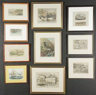 Suite of 10 Framed Wood Engravings