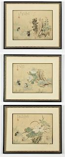 3 Chinese Paintings in Frames