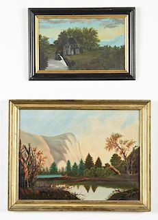 2 Antique American Naive Paintings