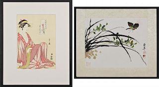Two Works, including Hosoda Eishi