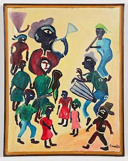 """Ermistral Charles """"Thialy"""" (Haitian, 20th c.) Oil Painting"""