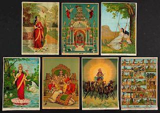 7 Calendar Prints Depicting Various Hindu'_Dieties