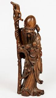 Chinese Carved Bamboo Immortal Figure