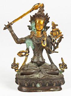 Gilded Bronze Sino-Tibetan Mariamman Figure